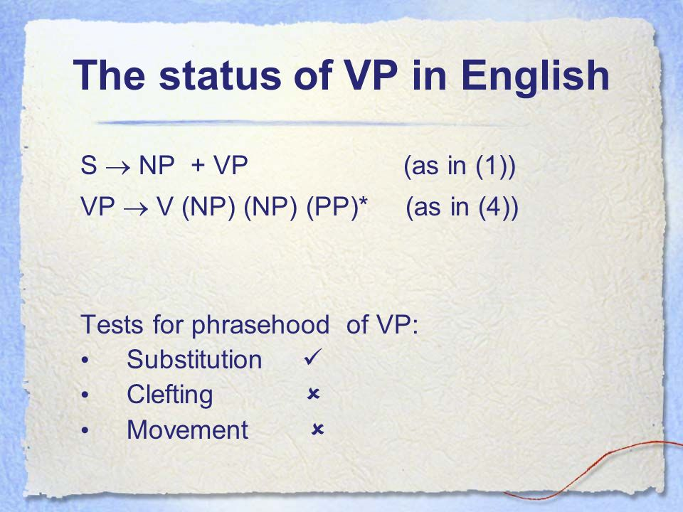 The status of VP in English S NP + VP (as in (1)) VP V (NP) (NP) (PP)* (as in (4)) Tests for phrasehood of VP: Substitution Clefting Movement