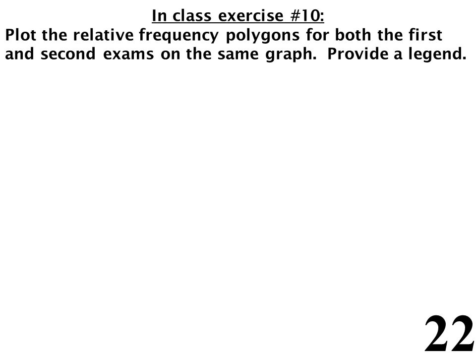 22 In class exercise #10: Plot the relative frequency polygons for both the first and second exams on the same graph.