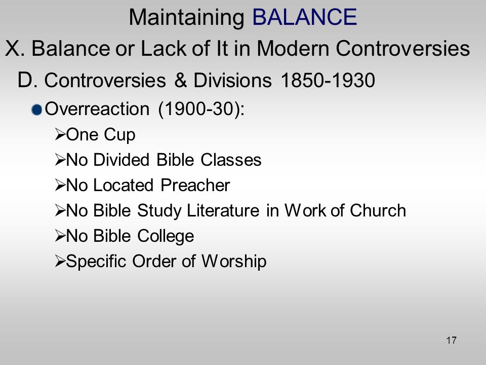17 Maintaining BALANCE X. Balance or Lack of It in Modern Controversies D.