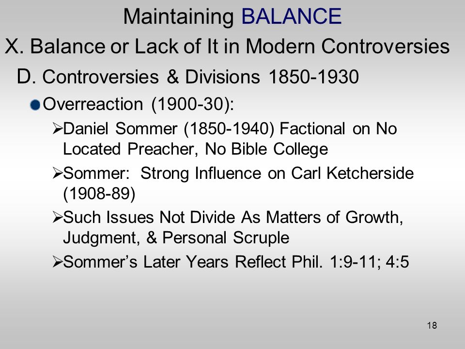 18 Maintaining BALANCE X. Balance or Lack of It in Modern Controversies D.