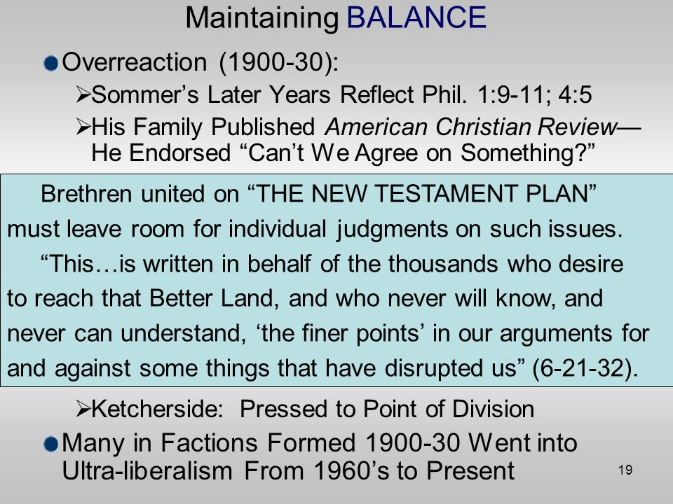 19 Maintaining BALANCE Overreaction ( ): Sommers Later Years Reflect Phil.