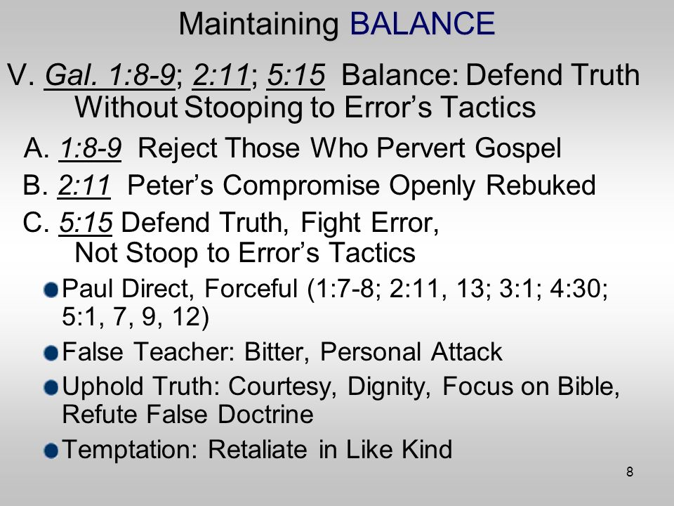 8 Maintaining BALANCE V. Gal.