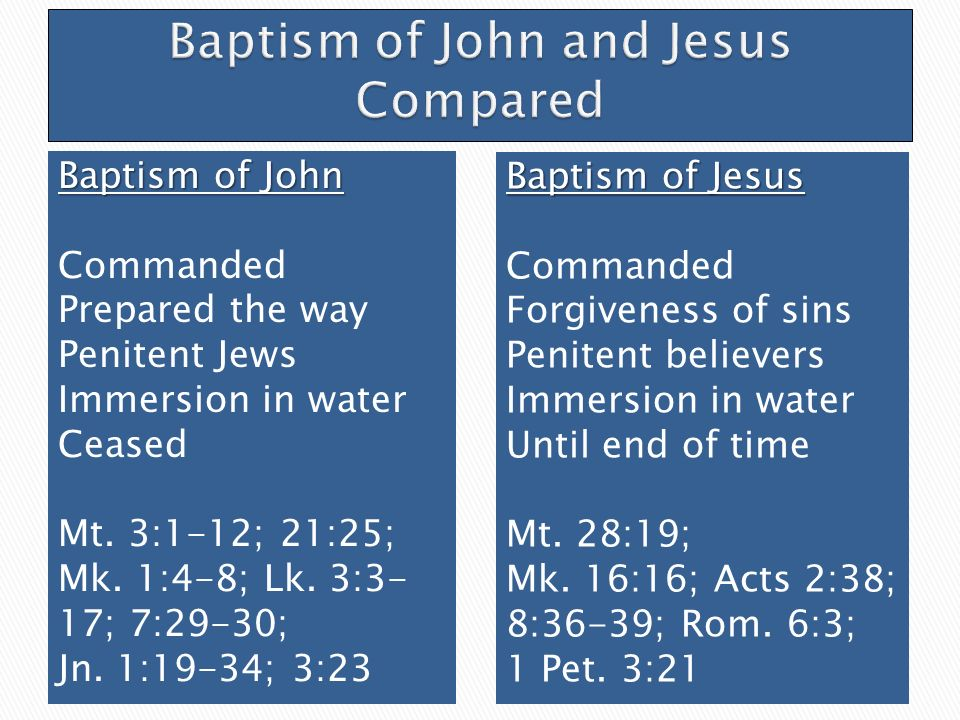 Baptism of John Commanded Prepared the way Penitent Jews Immersion in water Ceased Mt.