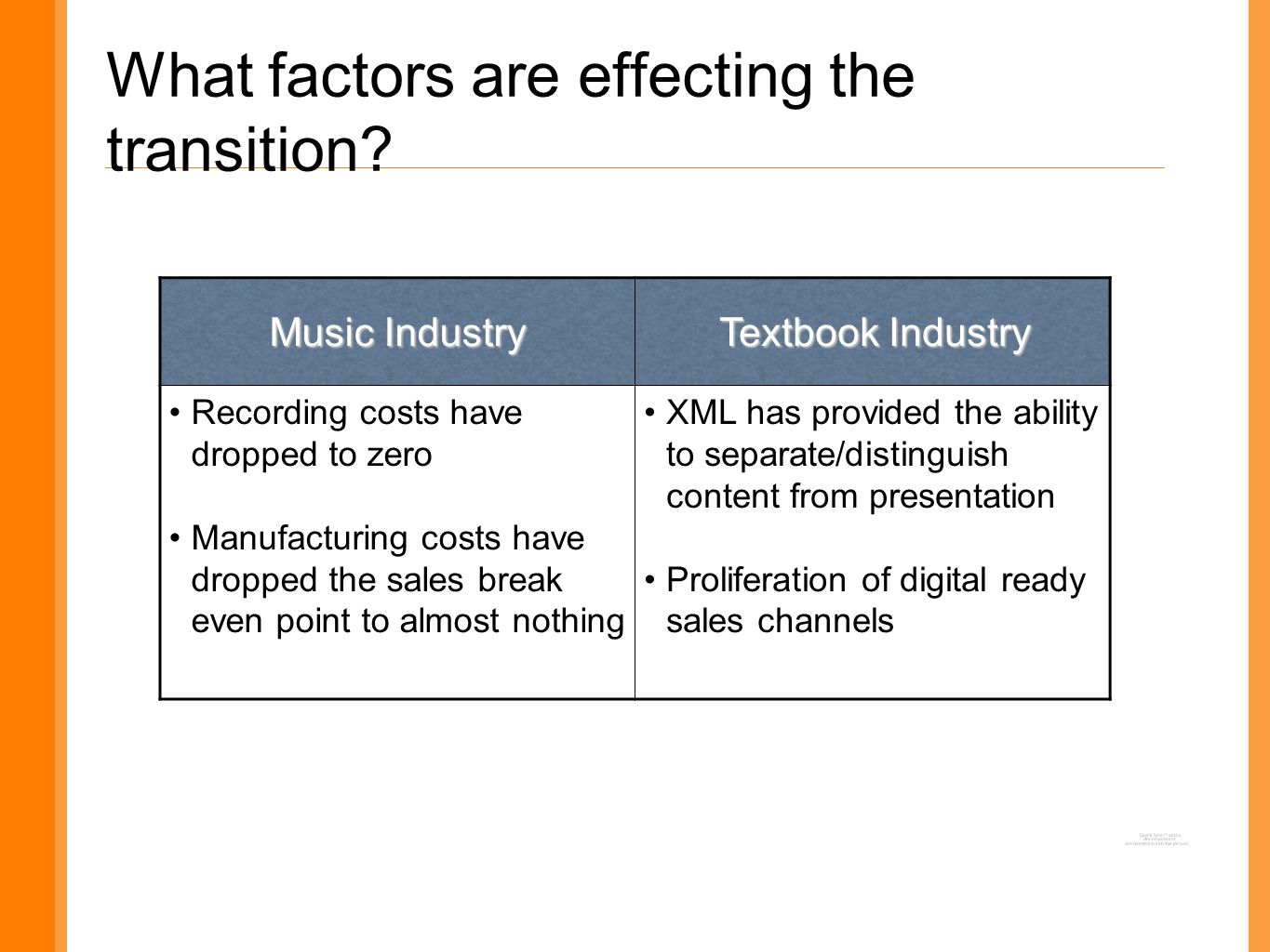 What factors are effecting the transition.