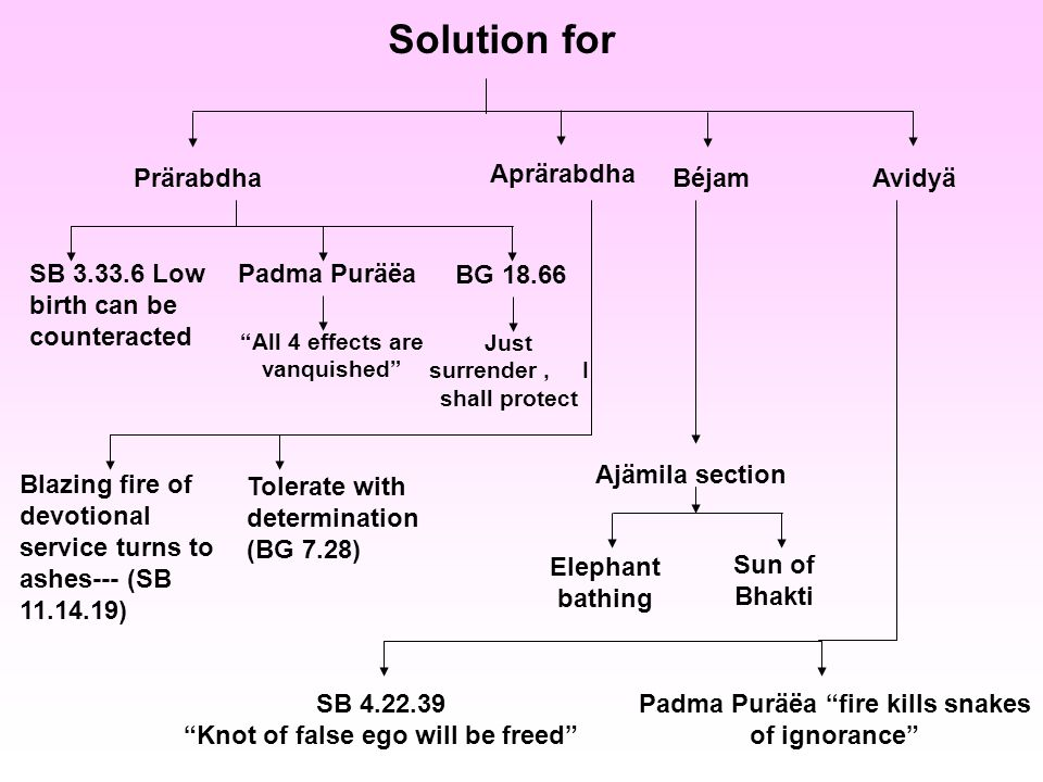 Solution for Prärabdha Aprärabdha BéjamAvidyä SB Low birth can be counteracted Padma Puräëa BG All 4 effects are vanquished Just surrender, I shall protect Blazing fire of devotional service turns to ashes--- (SB ) Tolerate with determination (BG 7.28) Elephant bathing Sun of Bhakti Ajämila section SB Knot of false ego will be freed Padma Puräëa fire kills snakes of ignorance