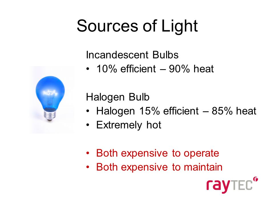 Incandescent Bulbs 10% efficient – 90% heat Halogen Bulb Halogen 15% efficient – 85% heat Extremely hot Both expensive to operate Both expensive to maintain