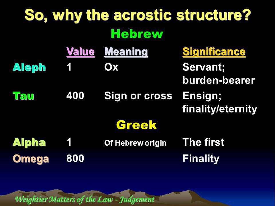 Weightier Matters of the Law - Judgement So, why the acrostic structure.
