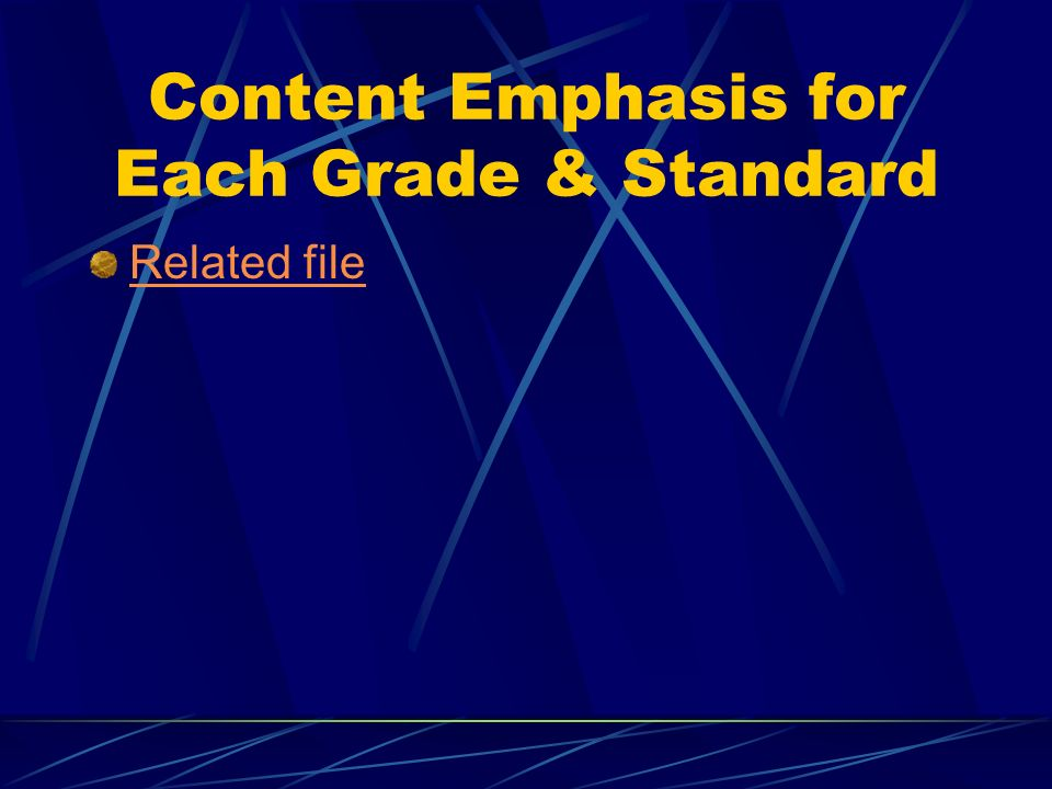 Content Emphasis for Each Grade & Standard Related file