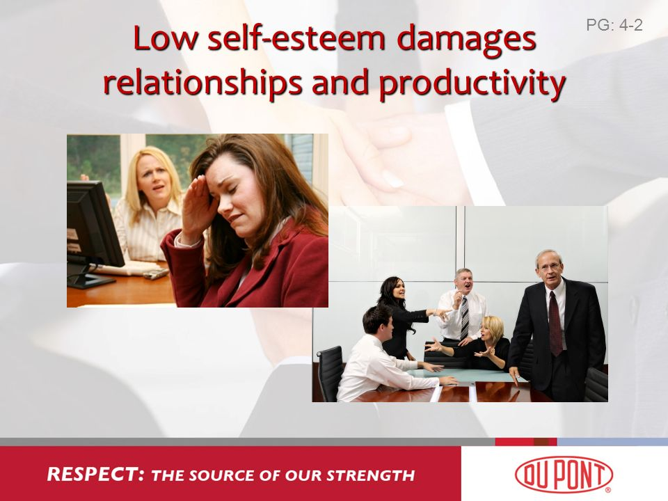 Low self-esteem damages relationships and productivity PG: 4-2