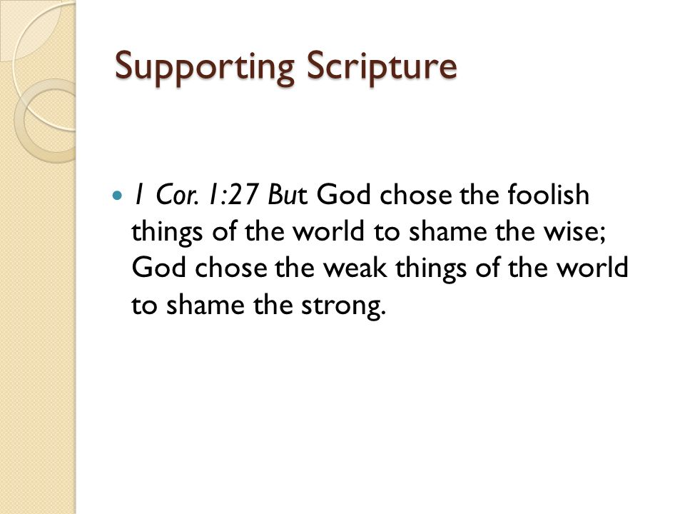 Supporting Scripture 1 Cor.