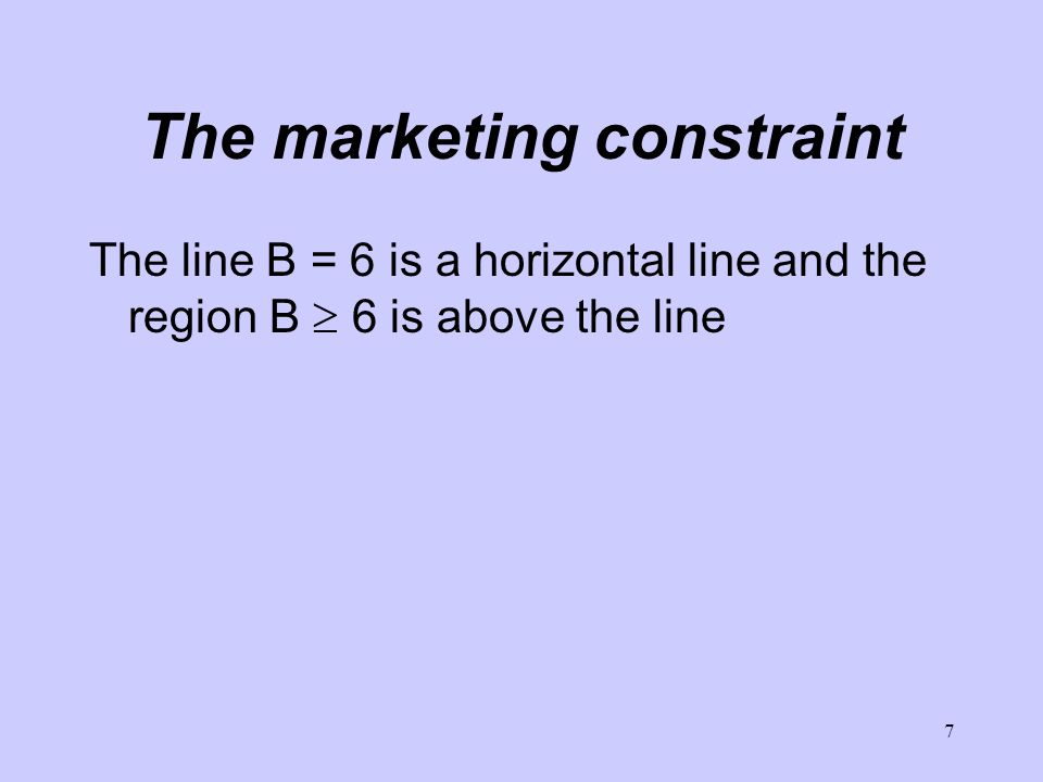 7 The marketing constraint The line B = 6 is a horizontal line and the region B 6 is above the line