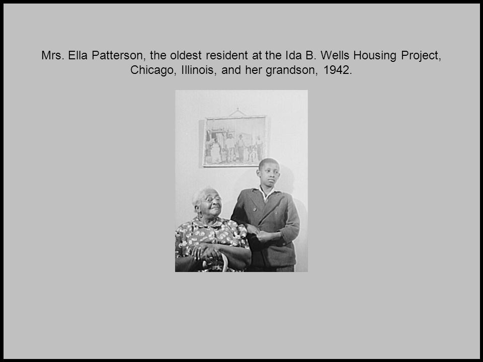 Mrs. Ella Patterson, the oldest resident at the Ida B.