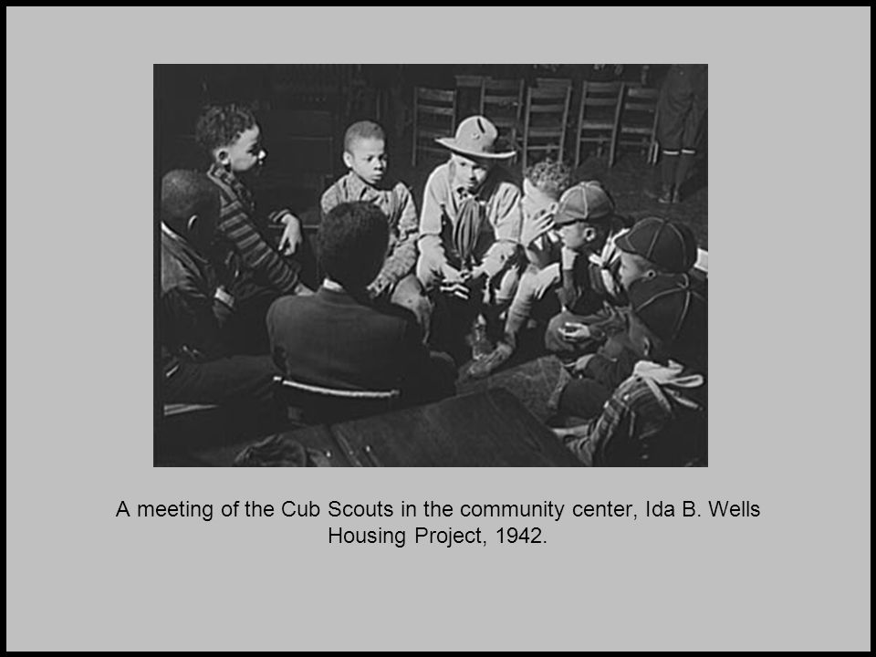 A meeting of the Cub Scouts in the community center, Ida B. Wells Housing Project, 1942.