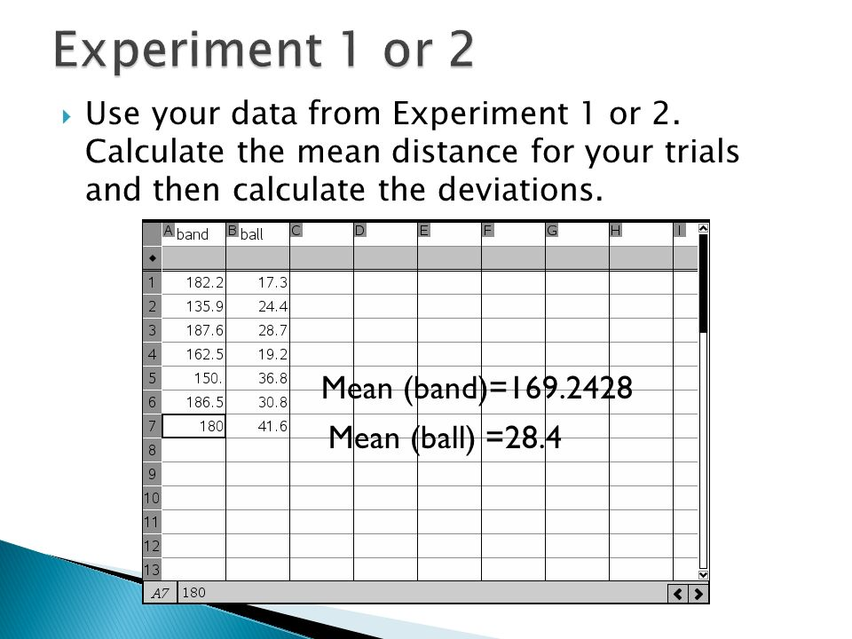 Use your data from Experiment 1 or 2.