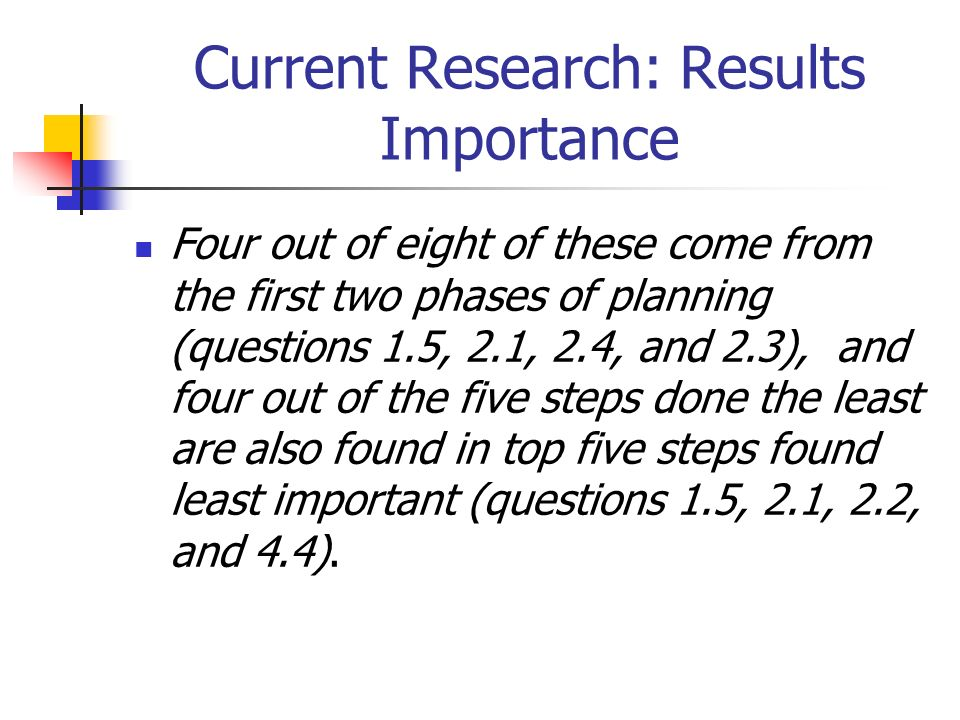 Four out of eight of these come from the first two phases of planning (questions 1.5, 2.1, 2.4, and 2.3), and four out of the five steps done the least are also found in top five steps found least important (questions 1.5, 2.1, 2.2, and 4.4).