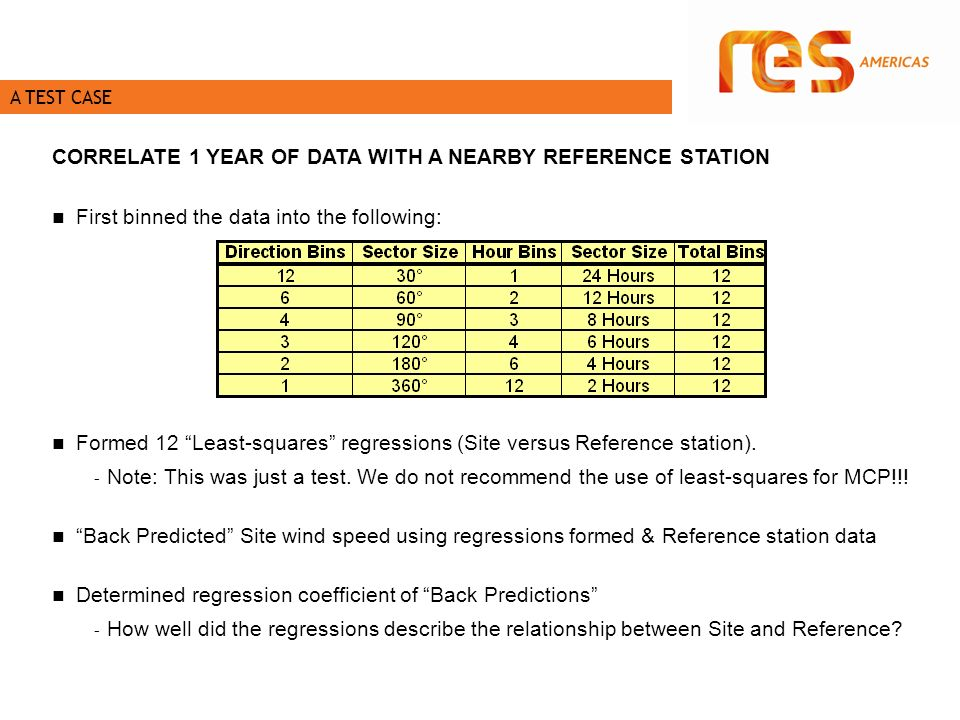 A TEST CASE CORRELATE 1 YEAR OF DATA WITH A NEARBY REFERENCE STATION First binned the data into the following: Formed 12 Least-squares regressions (Site versus Reference station).