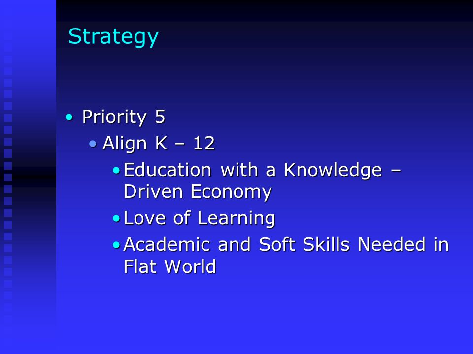 Strategy Priority 5Priority 5 Align K – 12Align K – 12 Education with a Knowledge – Driven EconomyEducation with a Knowledge – Driven Economy Love of LearningLove of Learning Academic and Soft Skills Needed in Flat WorldAcademic and Soft Skills Needed in Flat World