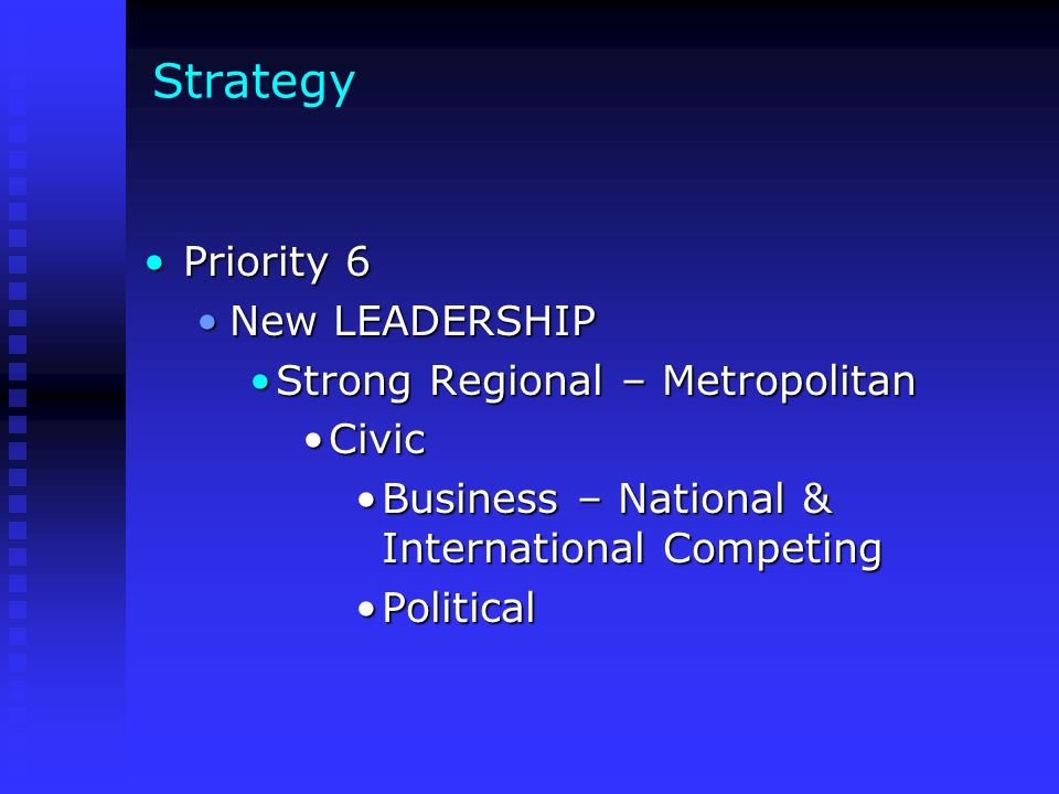 Strategy Priority 6Priority 6 New LEADERSHIPNew LEADERSHIP Strong Regional – MetropolitanStrong Regional – Metropolitan CivicCivic Business – National & International CompetingBusiness – National & International Competing PoliticalPolitical