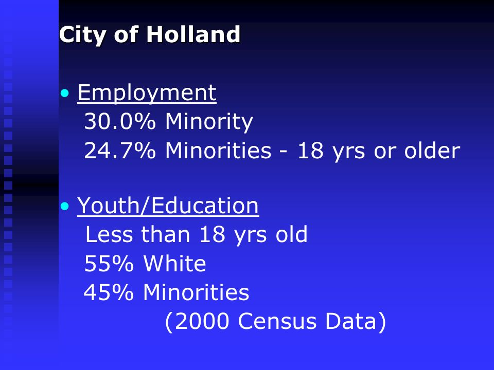City of Holland Employment 30.0% Minority 24.7% Minorities - 18 yrs or older Youth/Education Less than 18 yrs old 55% White 45% Minorities (2000 Census Data)