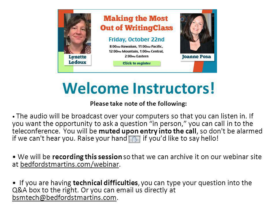 Welcome Instructors.