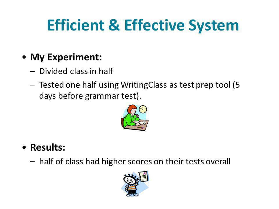 Efficient & Effective System My Experiment: –Divided class in half –Tested one half using WritingClass as test prep tool (5 days before grammar test).