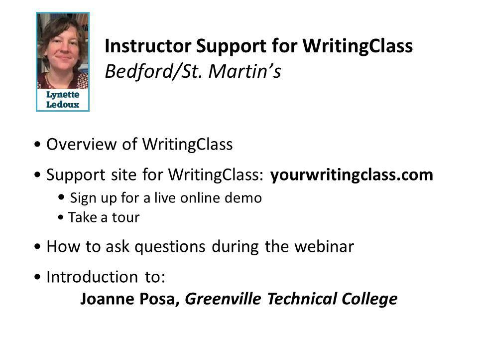 Instructor Support for WritingClass Bedford/St.