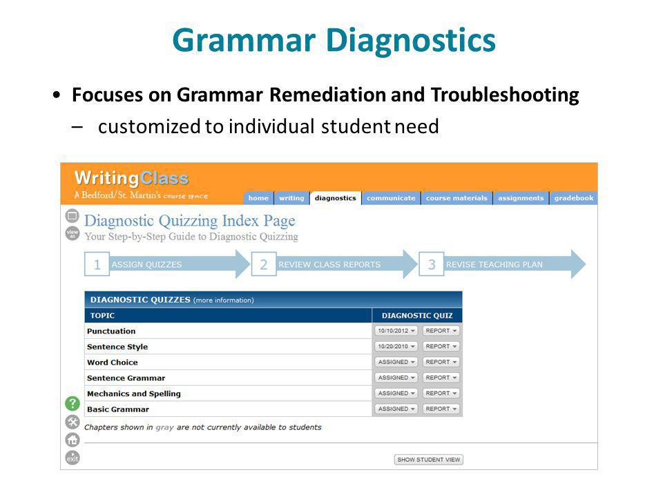 Grammar Diagnostics Focuses on Grammar Remediation and Troubleshooting – customized to individual student need