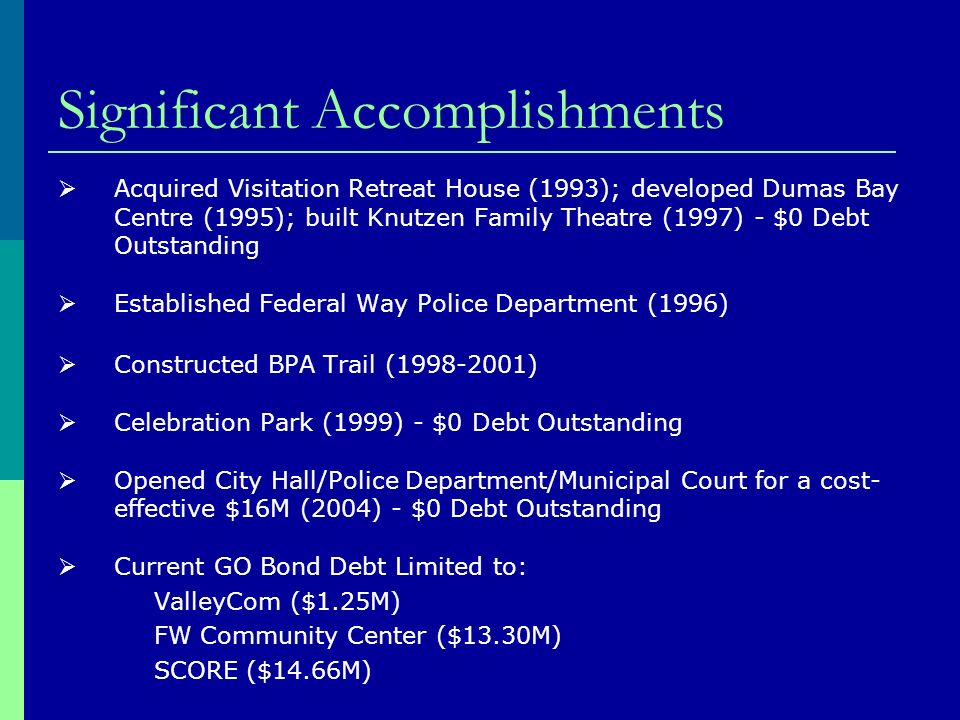 Significant Accomplishments Acquired Visitation Retreat House (1993); developed Dumas Bay Centre (1995); built Knutzen Family Theatre (1997) - $0 Debt Outstanding Established Federal Way Police Department (1996) Constructed BPA Trail ( ) Celebration Park (1999) - $0 Debt Outstanding Opened City Hall/Police Department/Municipal Court for a cost- effective $16M (2004) - $0 Debt Outstanding Current GO Bond Debt Limited to: ValleyCom ($1.25M) FW Community Center ($13.30M) SCORE ($14.66M)