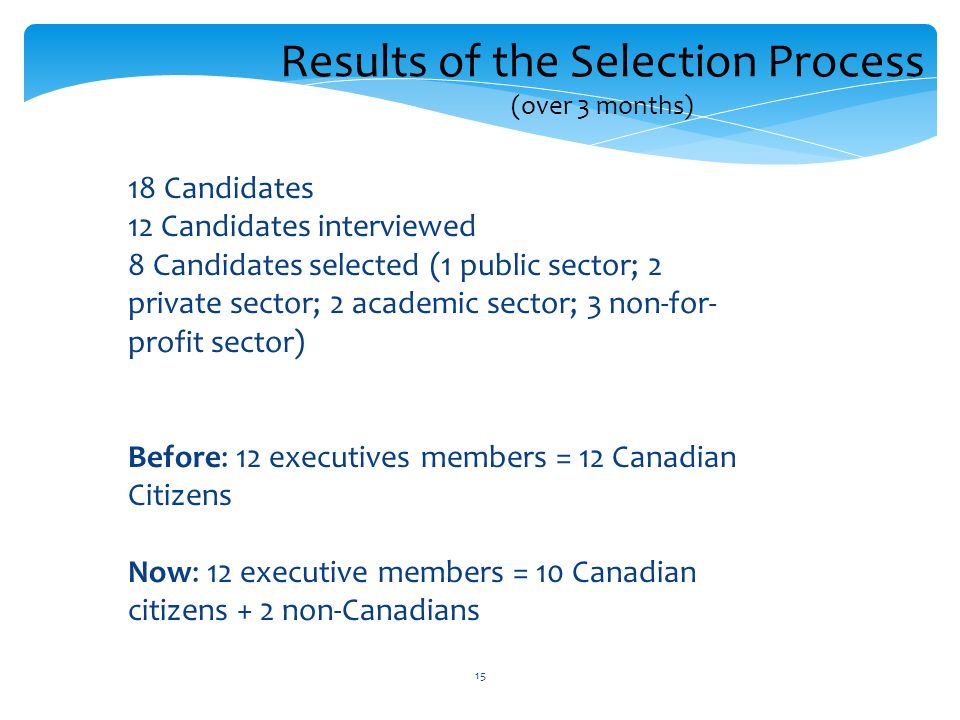 15 18 Candidates 12 Candidates interviewed 8 Candidates selected (1 public sector; 2 private sector; 2 academic sector; 3 non-for- profit sector) Before: 12 executives members = 12 Canadian Citizens Now: 12 executive members = 10 Canadian citizens + 2 non-Canadians Results of the Selection Process (over 3 months)