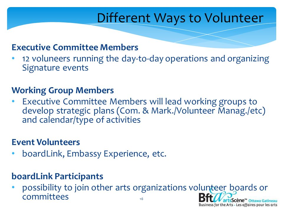 Different Ways to Volunteer Executive Committee Members 12 voluneers running the day-to-day operations and organizing Signature events Working Group Members Executive Committee Members will lead working groups to develop strategic plans (Com.
