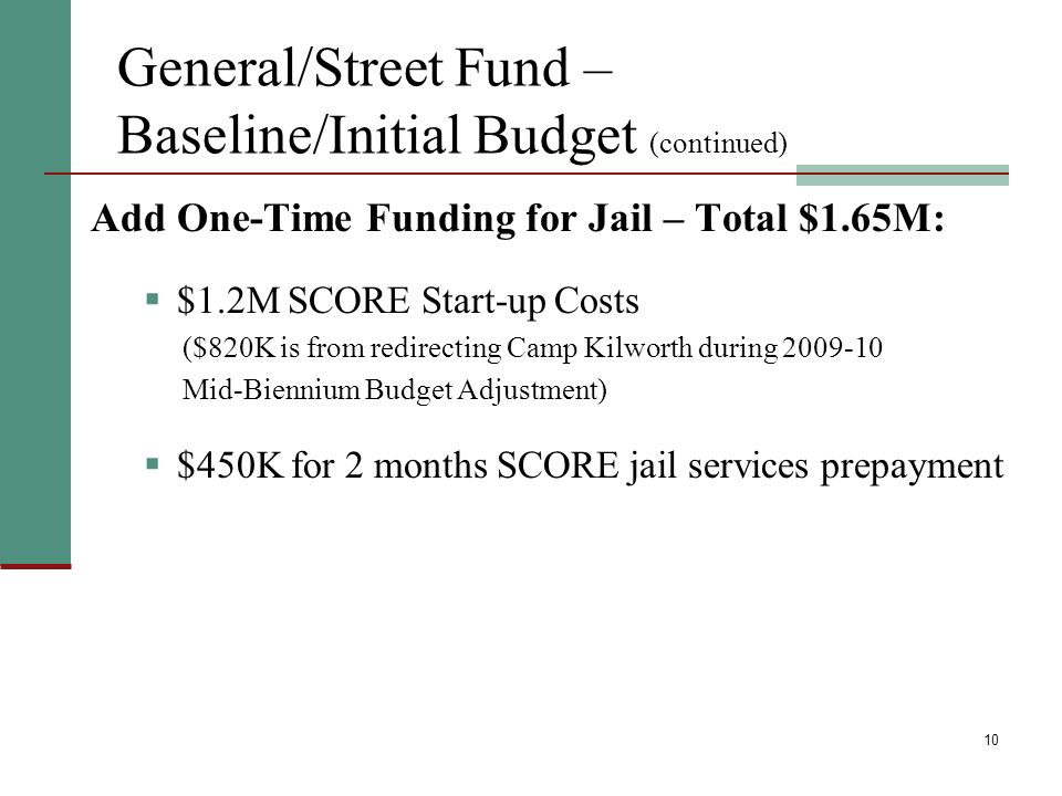 10 General/Street Fund – Baseline/Initial Budget (continued) Add One-Time Funding for Jail – Total $1.65M: $1.2M SCORE Start-up Costs ($820K is from redirecting Camp Kilworth during Mid-Biennium Budget Adjustment) $450K for 2 months SCORE jail services prepayment