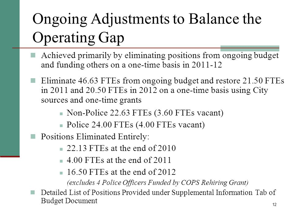 12 Ongoing Adjustments to Balance the Operating Gap Achieved primarily by eliminating positions from ongoing budget and funding others on a one-time basis in 2011-12 Eliminate 46.63 FTEs from ongoing budget and restore 21.50 FTEs in 2011 and 20.50 FTEs in 2012 on a one-time basis using City sources and one-time grants Non-Police 22.63 FTEs (3.60 FTEs vacant) Police 24.00 FTEs (4.00 FTEs vacant) Positions Eliminated Entirely: 22.13 FTEs at the end of 2010 4.00 FTEs at the end of 2011 16.50 FTEs at the end of 2012 (excludes 4 Police Officers Funded by COPS Rehiring Grant) Detailed List of Positions Provided under Supplemental Information Tab of Budget Document