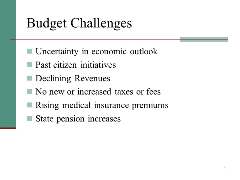 4 Budget Challenges Uncertainty in economic outlook Past citizen initiatives Declining Revenues No new or increased taxes or fees Rising medical insurance premiums State pension increases