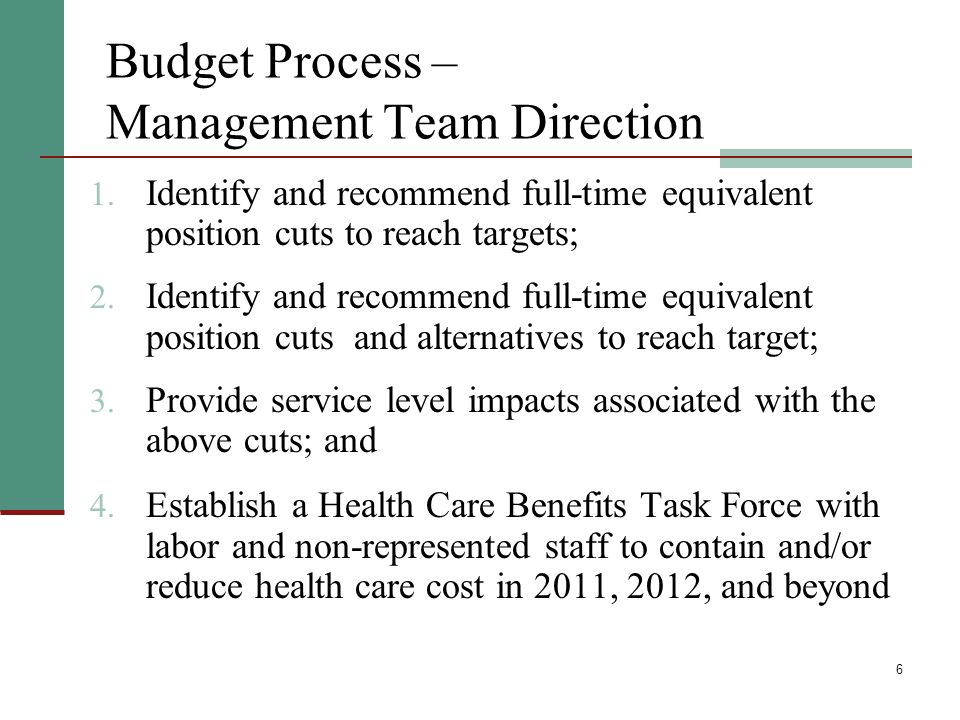 6 Budget Process – Management Team Direction 1.