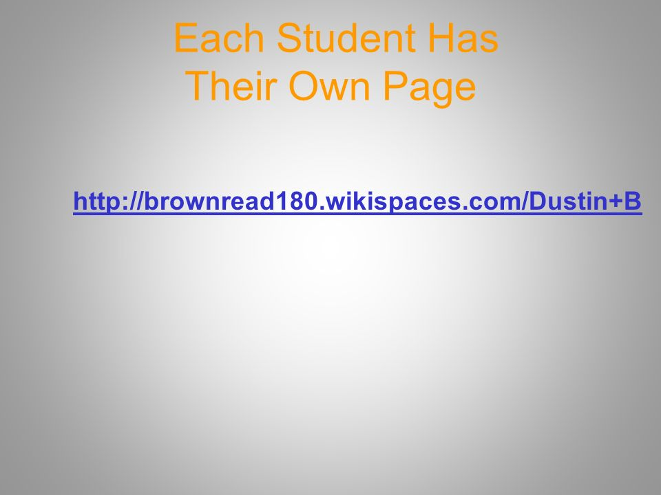 Each Student Has Their Own Page
