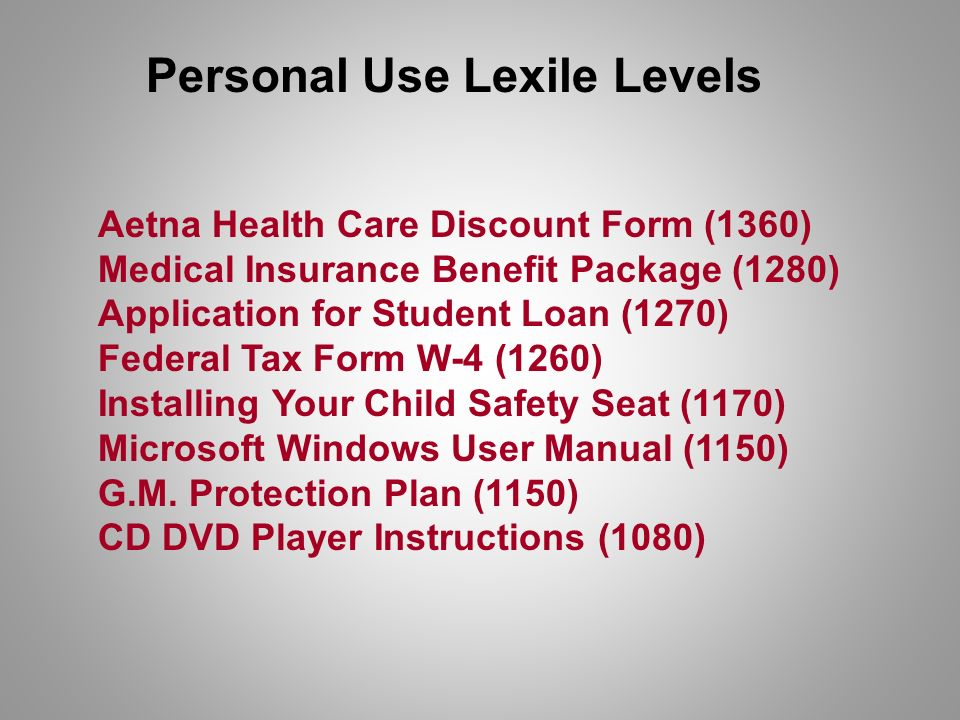 Aetna Health Care Discount Form (1360) Medical Insurance Benefit Package (1280) Application for Student Loan (1270) Federal Tax Form W-4 (1260) Installing Your Child Safety Seat (1170) Microsoft Windows User Manual (1150) G.M.
