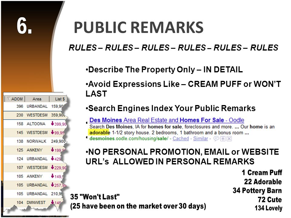 PUBLIC REMARKS RULES – RULES – RULES – RULES – RULES – RULES Describe The Property Only – IN DETAIL Avoid Expressions Like – CREAM PUFF or WONT LAST Search Engines Index Your Public Remarks Change Your Remarks Occasionally Unique Features Promoted Here NO PERSONAL PROMOTION,  or WEBSITE URLs ALLOWED IN PERSONAL REMARKS