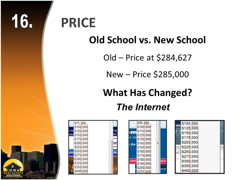 PRICE Old School vs. New School Old – Price at $284,627 New – Price $285,000 What Has Changed.