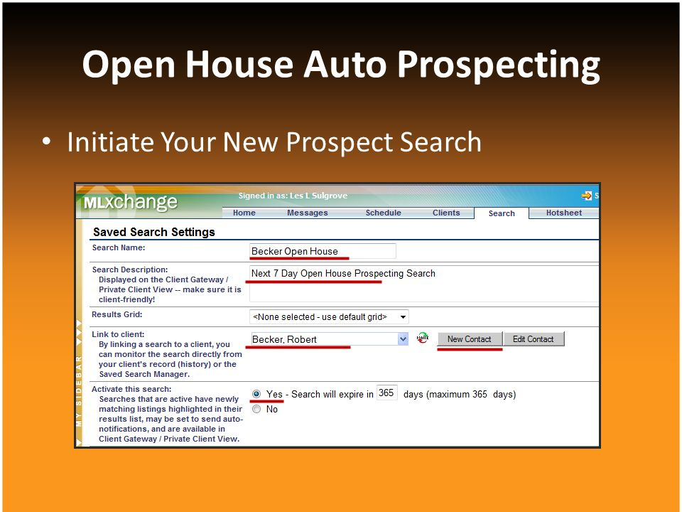 Initiate Your New Prospect Search Open House Auto Prospecting