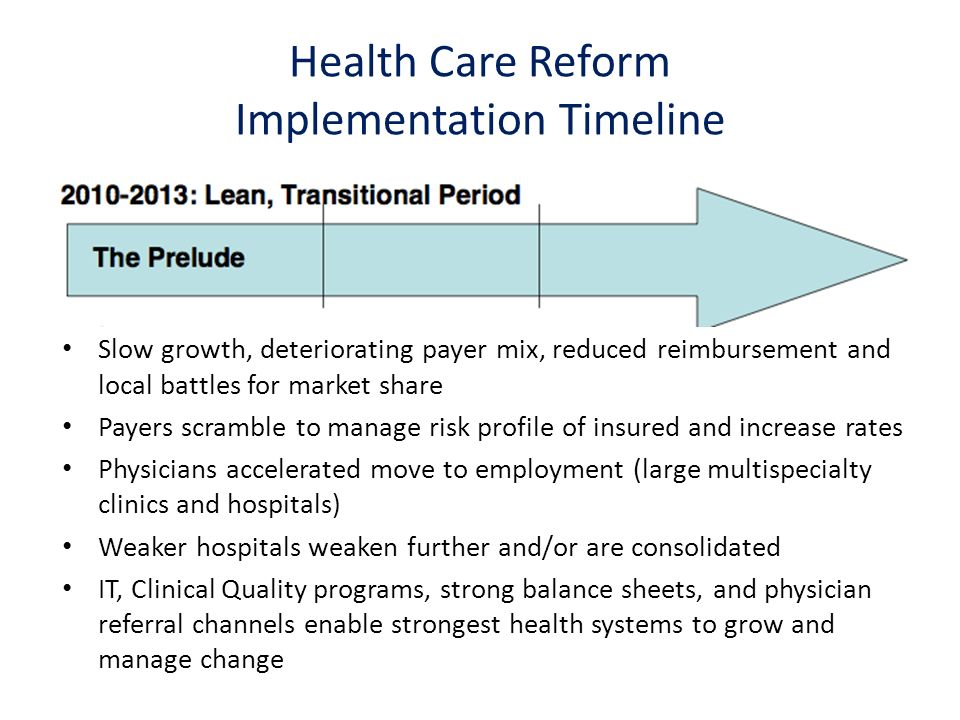 Slow growth, deteriorating payer mix, reduced reimbursement and local battles for market share Payers scramble to manage risk profile of insured and increase rates Physicians accelerated move to employment (large multispecialty clinics and hospitals) Weaker hospitals weaken further and/or are consolidated IT, Clinical Quality programs, strong balance sheets, and physician referral channels enable strongest health systems to grow and manage change Health Care Reform Implementation Timeline