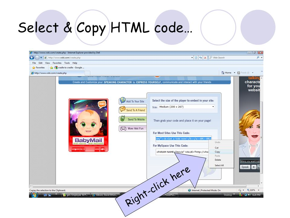 Select & Copy HTML code… Right-click here