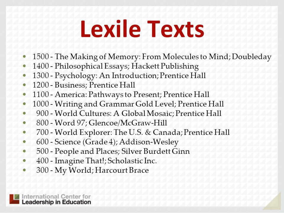 Lexile Texts 1500 - The Making of Memory: From Molecules to Mind; Doubleday 1400 - Philosophical Essays; Hackett Publishing 1300 - Psychology: An Introduction; Prentice Hall 1200 - Business; Prentice Hall 1100 - America: Pathways to Present; Prentice Hall 1000 - Writing and Grammar Gold Level; Prentice Hall 900 - World Cultures: A Global Mosaic; Prentice Hall 800 - Word 97; Glencoe/McGraw-Hill 700 - World Explorer: The U.S.