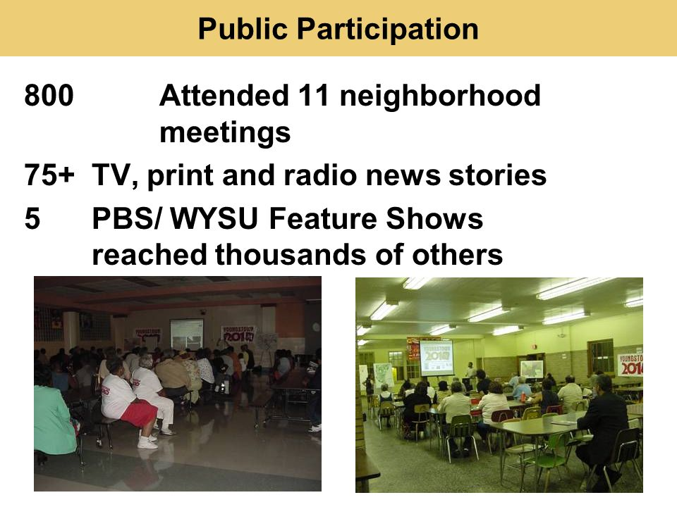 Public Participation 800 Attended 11 neighborhood meetings 75+ TV, print and radio news stories 5 PBS/ WYSU Feature Shows reached thousands of others