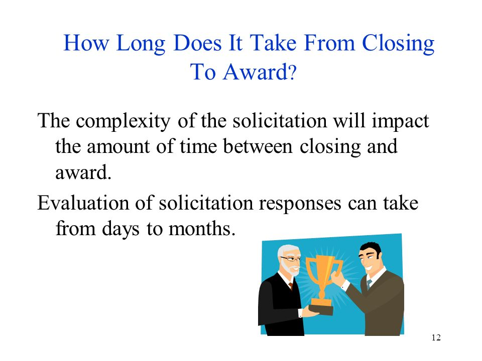 12 How Long Does It Take From Closing To Award .