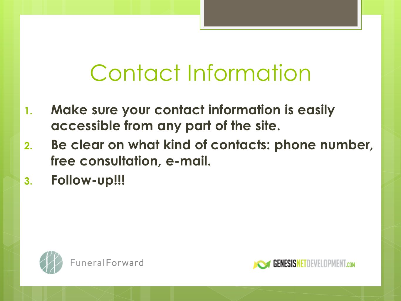 Contact Information 1.