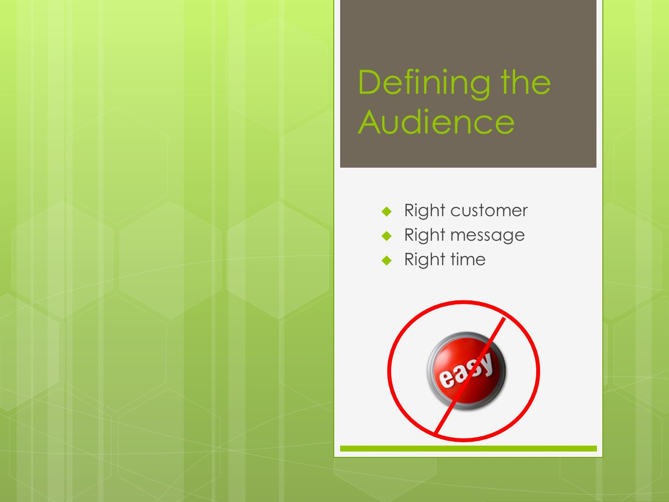 Defining the Audience Right customer Right message Right time