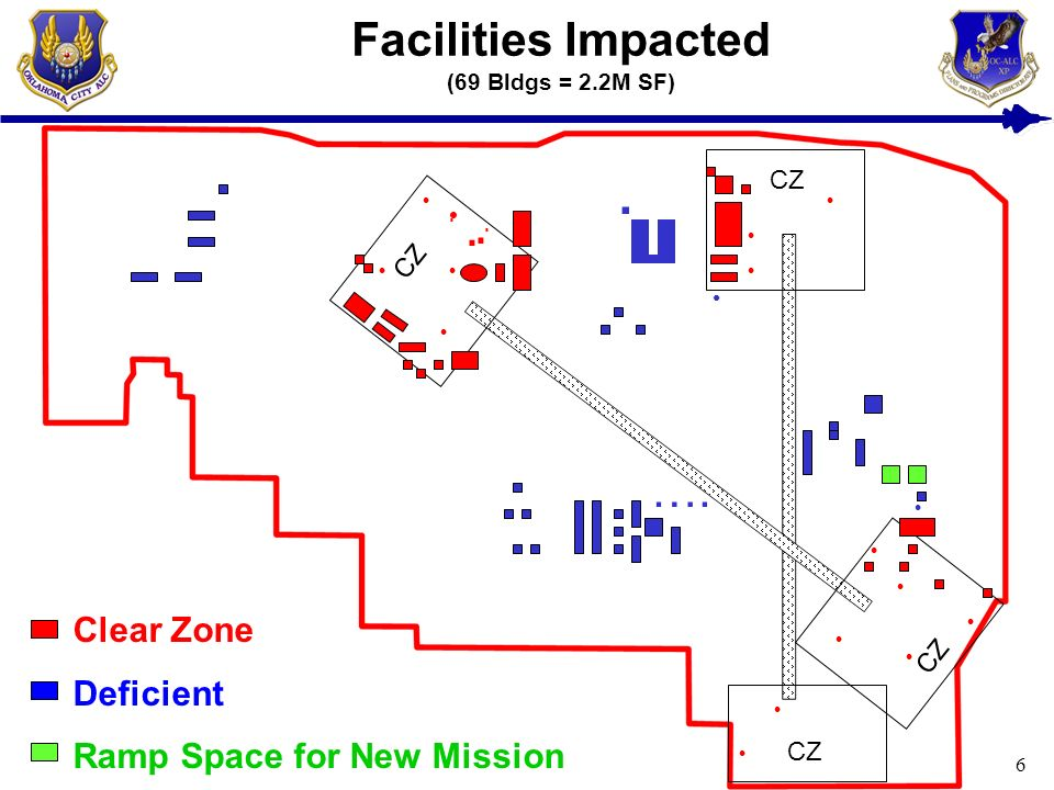 6 Facilities Impacted (69 Bldgs = 2.2M SF) CZ Clear Zone Deficient Ramp Space for New Mission