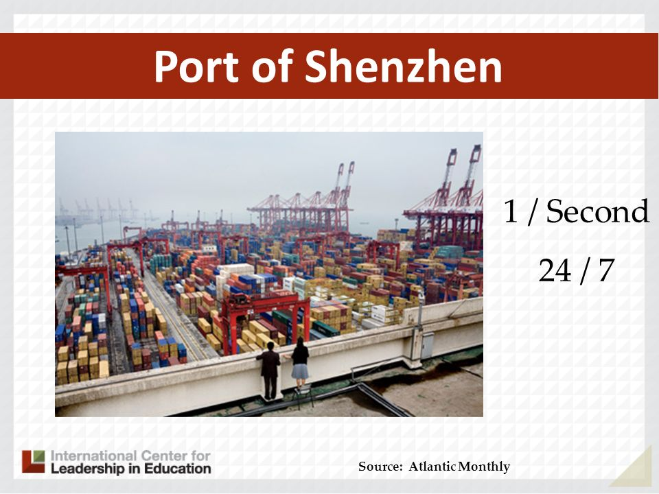 Port of Shenzhen Source: Atlantic Monthly 1 / Second 24 / 7