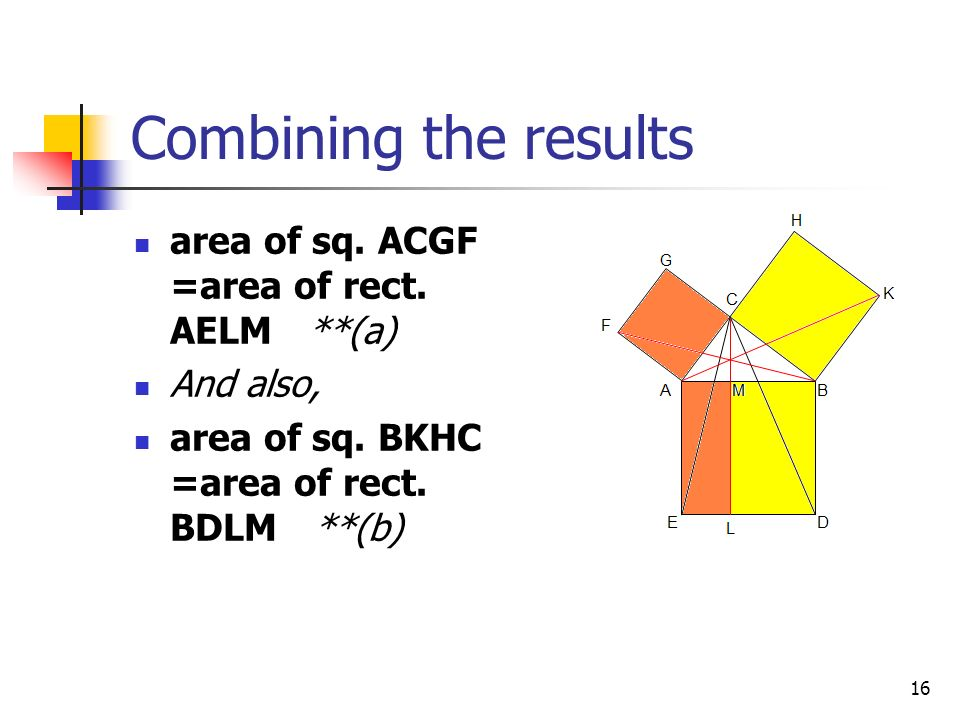15 Thus, the area of the square on side BC equals the area of the rectangle BDLM We now have Δ ABK = Δ DBC … (iv) area of ΔABK =half area of sq.