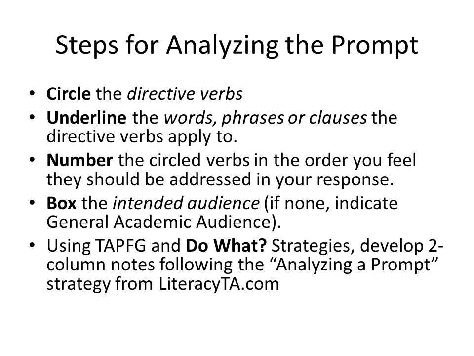 Steps for Analyzing the Prompt Circle the directive verbs Underline the words, phrases or clauses the directive verbs apply to.